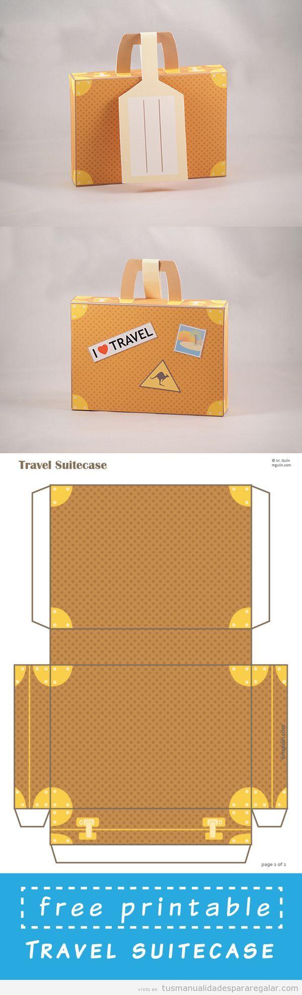 Tutorial y plantilla para hacer un paquete con forma de maleta
