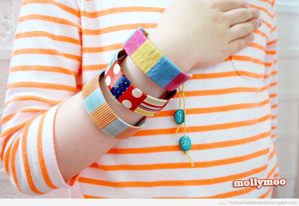 Tutorial pulsera hecha de palos de polo pintados o con hilo