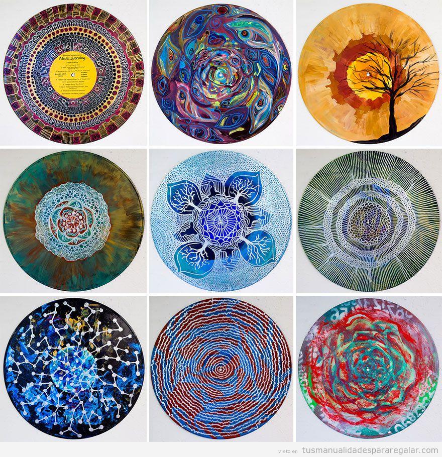 Mandalas pintados en discos vinilo, manualidades regalar