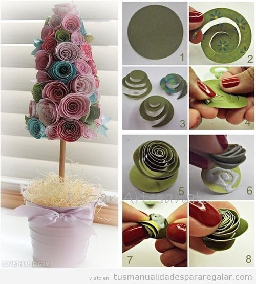 Manualidades regalar, árbol de papel para decorar casa