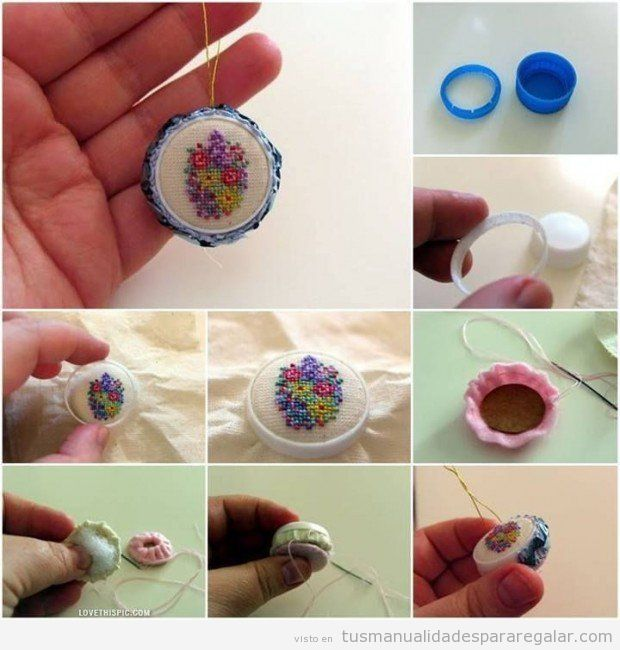Manualidades regalar, mini bordado en tapón de plástico