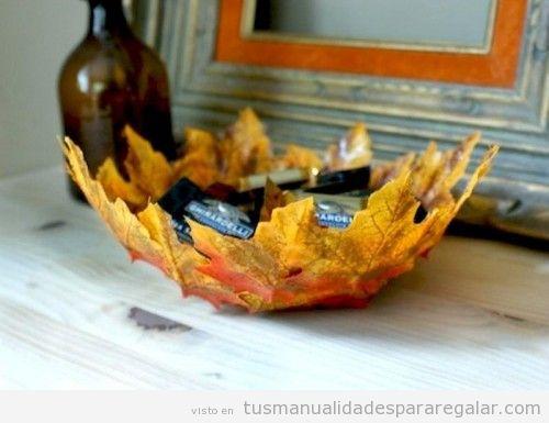 Bol DIY hecho con hojas secas, manualidades de otoño 3