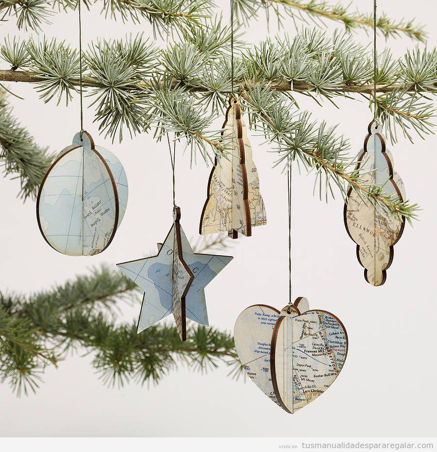 Manualidades regalar, adornos árbol Navidad estilo vintage