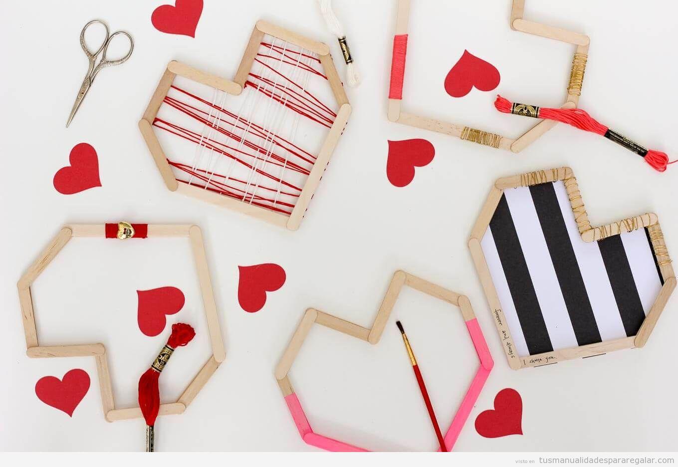 Corazón hecho con palos de polo para San Valentín