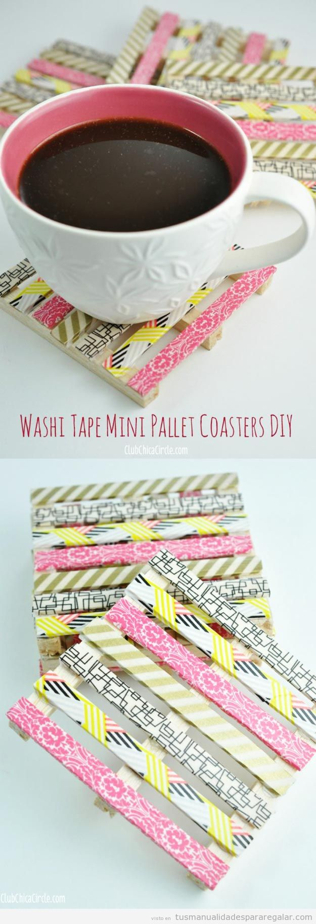 Posavasos DIy hecho de mini palets y washi tape