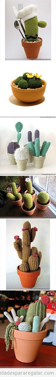 Manualidades regalar, cactus de ganchillo