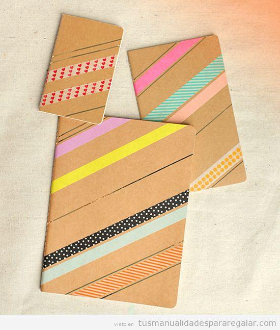Manualidades fáciles regalar en Navidad, cuaderno washi tape