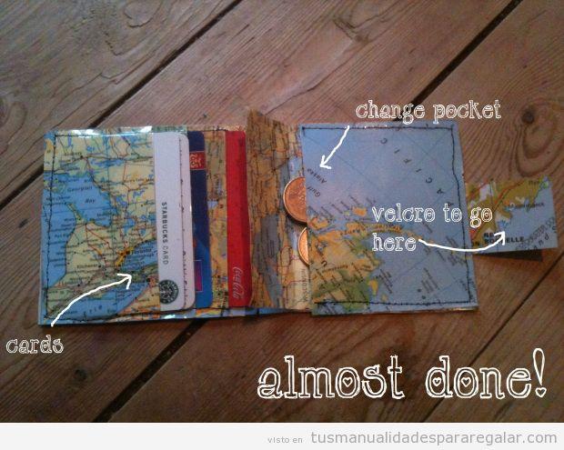 Tutorial cartera mapamundi plástico DIY para regalar 3