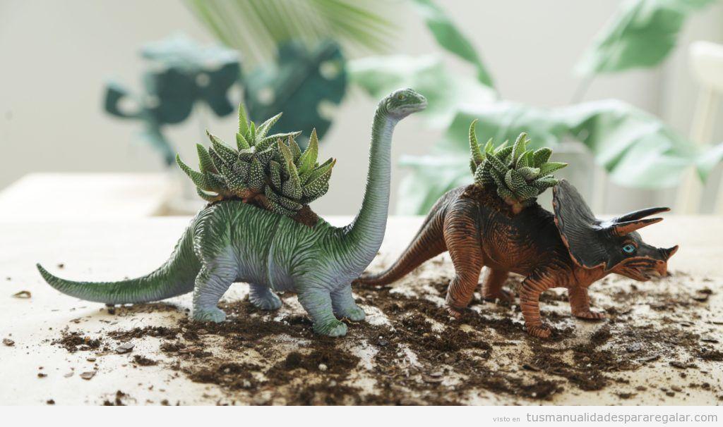 Regalos hechos a mano para el día del padre, maceteros dinosaurios