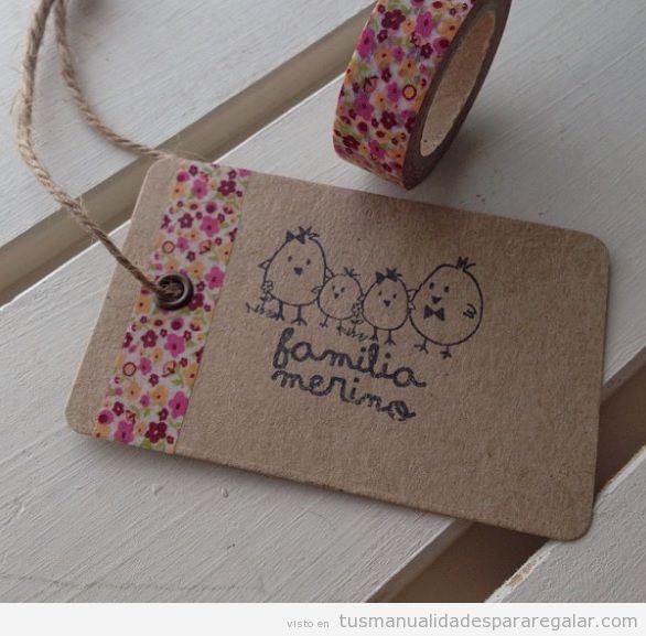 Etiquetas de cartulina estampada hechas a mano