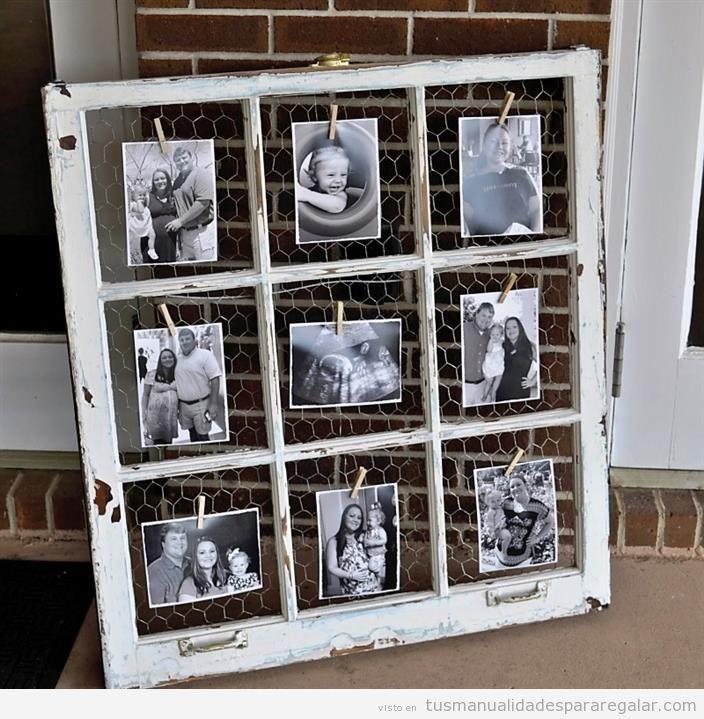 Manualidades madera reciclada con ventanas antiguas