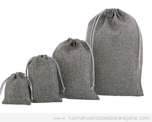Bolsas de yute gris