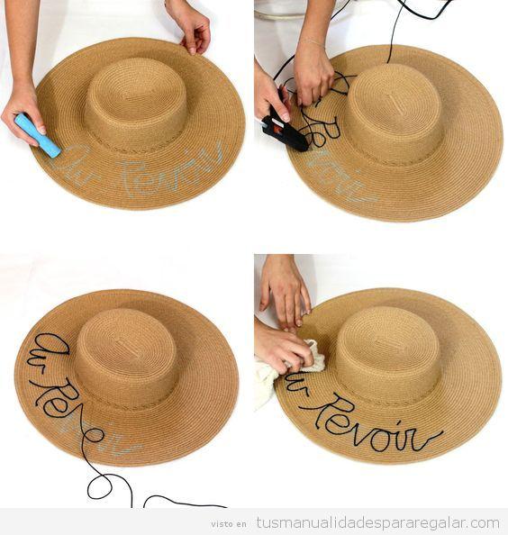 Sombreros DIY con palabras lentejuelas paso a paso