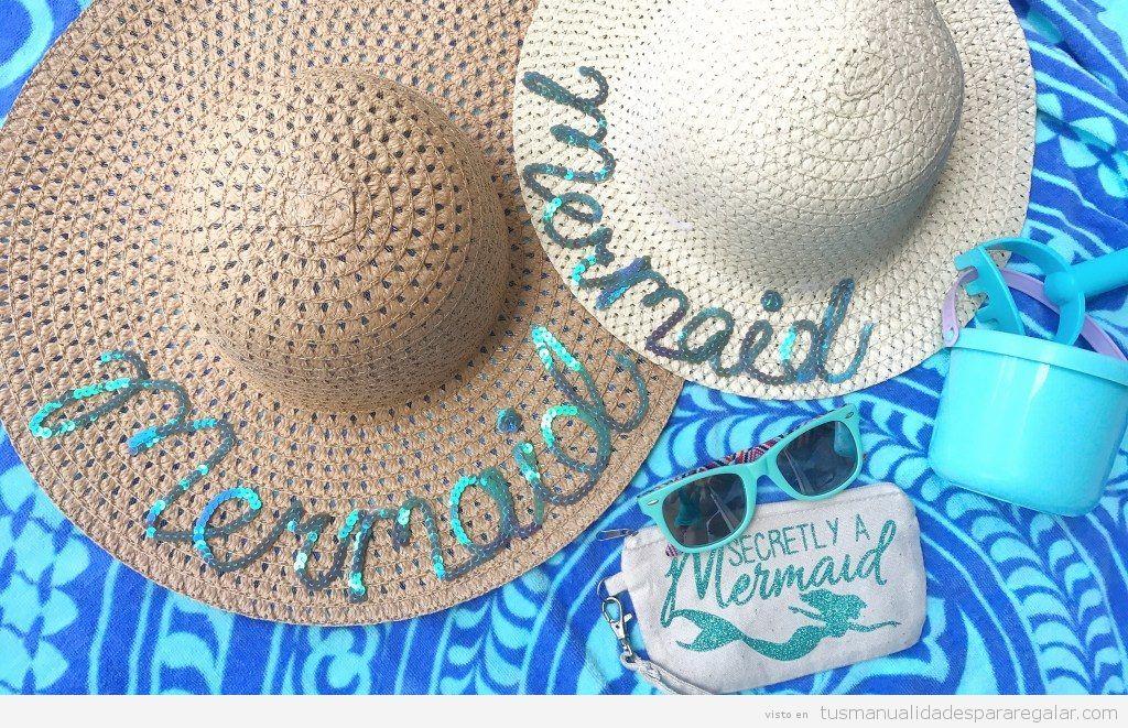 Sombreros DIY con palabras lentejuelas
