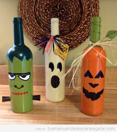 Manualidades regalar Halloween, botellas decoradas 2