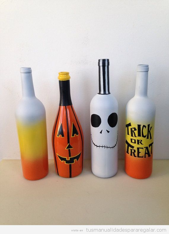 Manualidades regalar Halloween, botellas decoradas