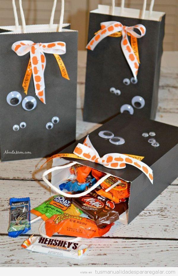 Manualidades regalar Halloween, bolsa de caramelo