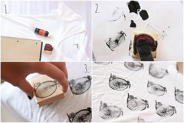 Camisetas estampadas DIY con sellos 10