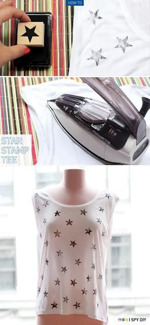 Camisetas estampadas DIY con sellos 5