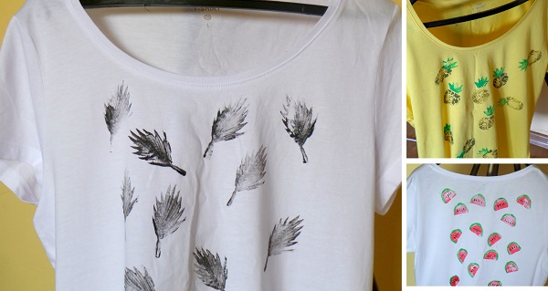 Camisetas estampadas DIY con sellos 7