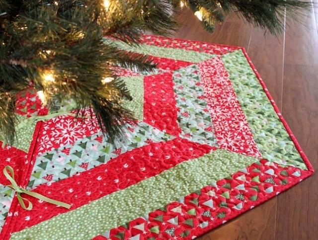 Faldón patchwork árbol de Navidad