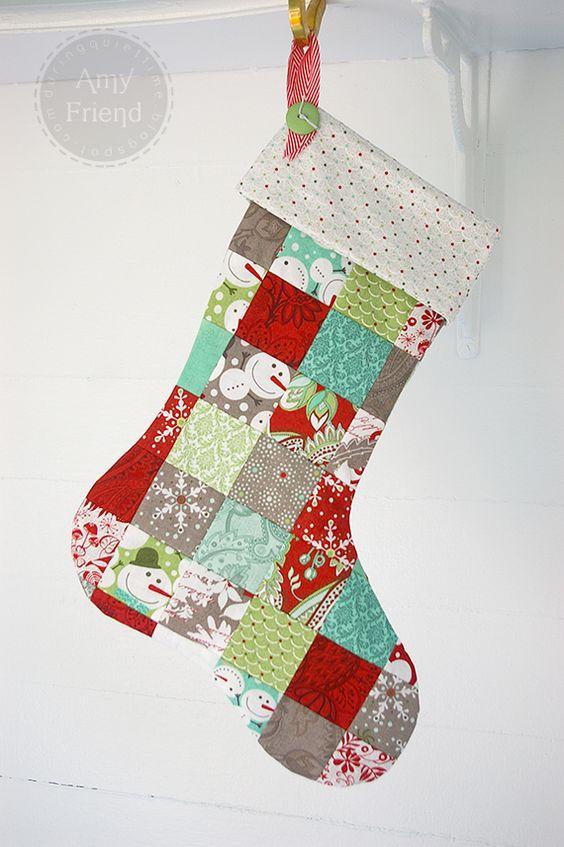 Calcetín patchwork Papá Noel