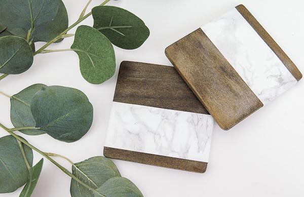 Posavasos DIY madera y falso mármol