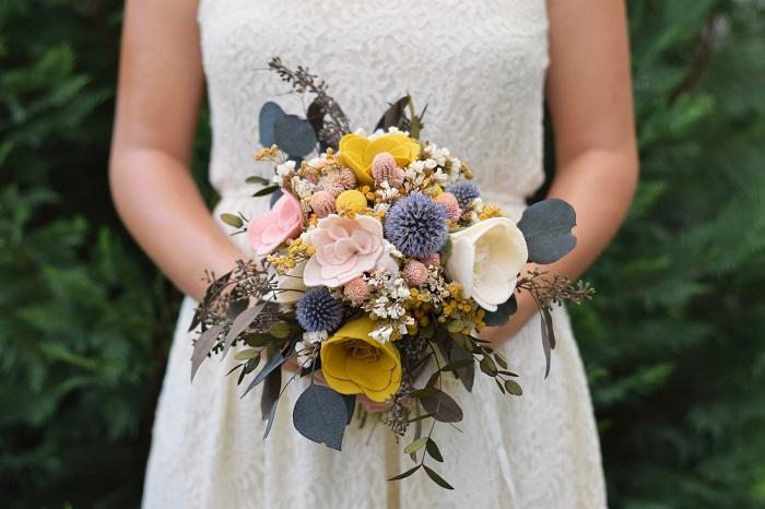 Ramo novia flores fieltro