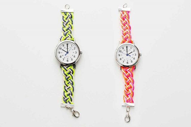 Pulsera o correa reloj DIY con hilos trenzados