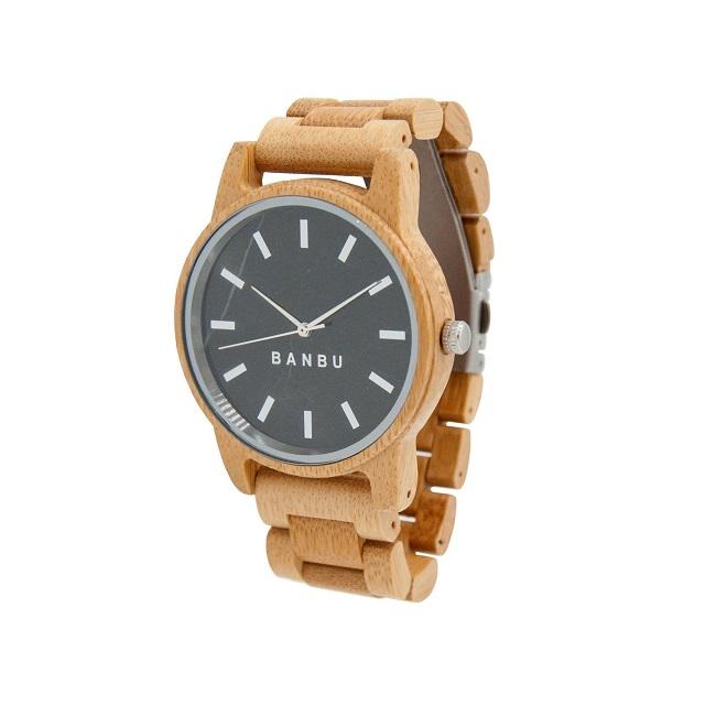 Reloj con pulsera de bambú