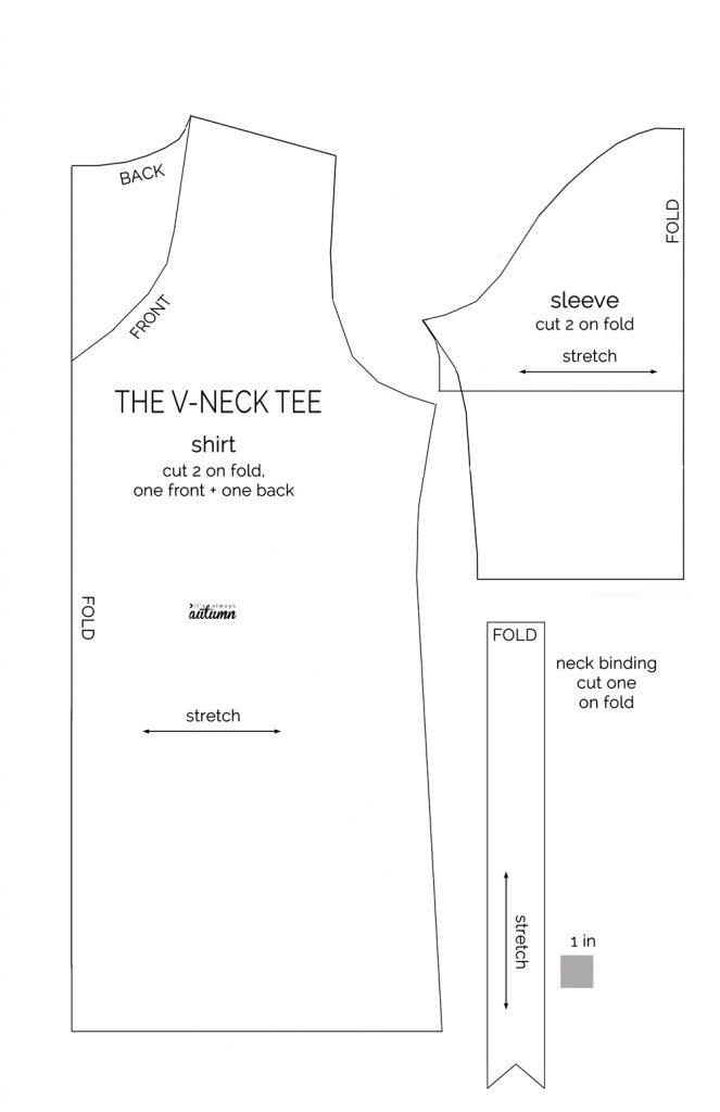 Patrón camiseta cuello V