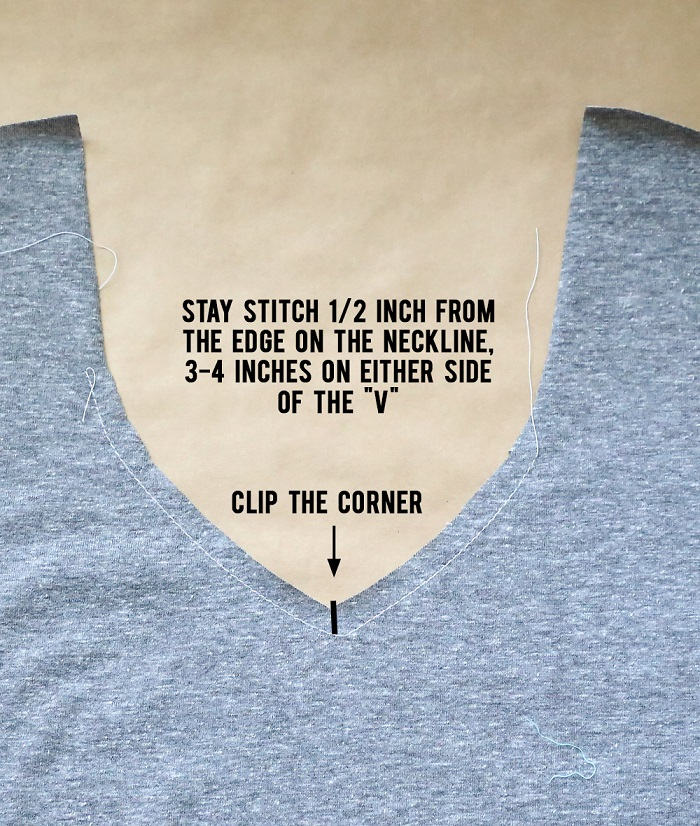 Cómo hacer camiseta cuello V paso 3