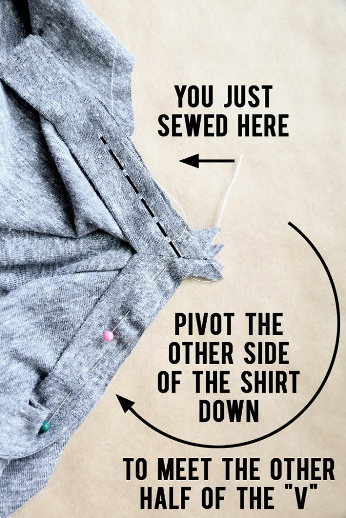 Cómo hacer camiseta cuello V paso 10