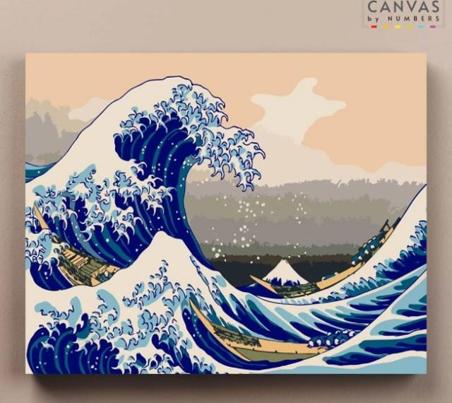 Pintar por números ola japonesa