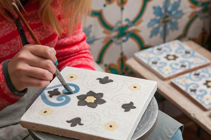 Azulejos de baño pintados a mano