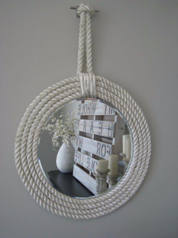 Espejo de baño con cuerda náutica